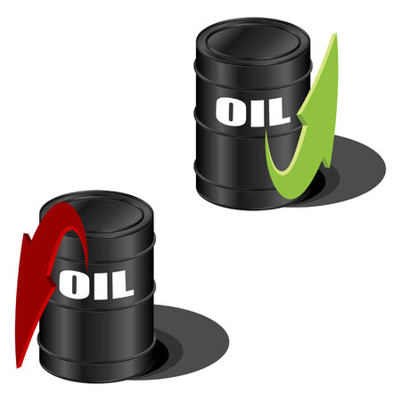 hermetic: Oil prices with up and down arrow over white Illustration