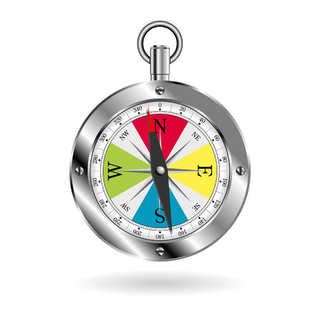 Metallic box compass with colorful face isolated over white Vector