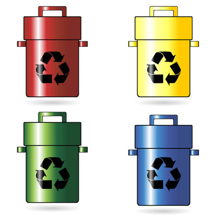 botes de basura: Reciclaje de latas de basura, con cuatro diferentes colores  Vectores