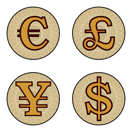 Different Currency Symbols Isolated Over White Background Royalty