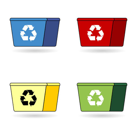 receptacle: Recycling trash boxes with four different colors