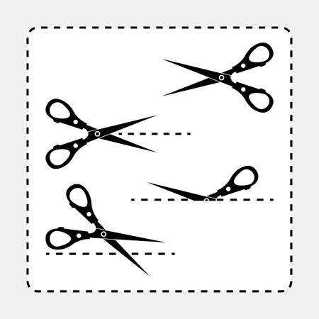 Different scissors silhouettes with cut out line guides Illustration