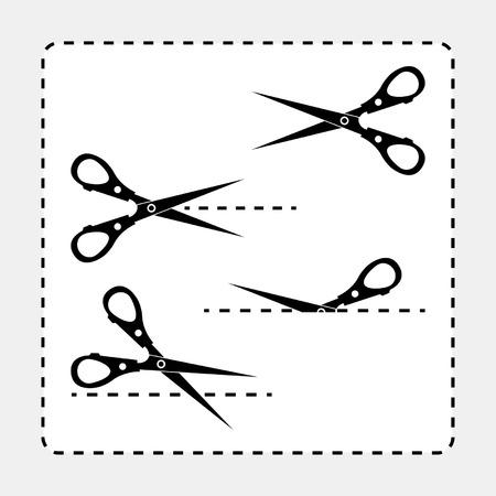 cutting blade: Siluetas de tijeras diferentes con recortar de gu�as de l�nea Vectores