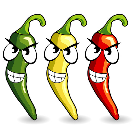 Funny mexican hot chili peppers isolated over white Illustration