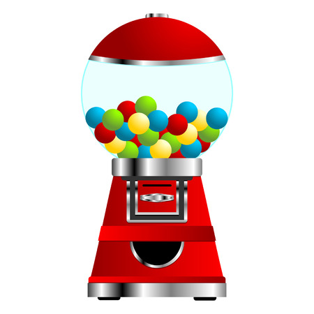Gumball vending machine isolated over white background