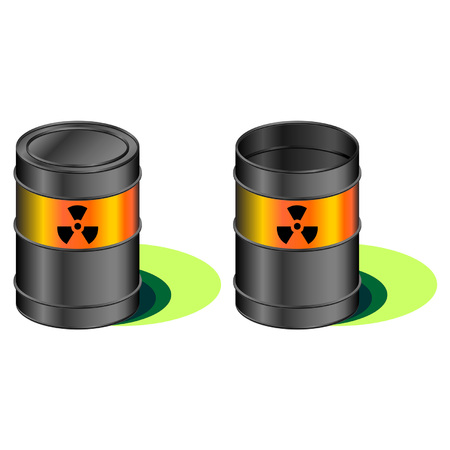 disastrous: Open and closed radioactive barrels with leak Illustration