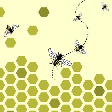 abejas: Fondo abstracto con volando las abejas y panales
