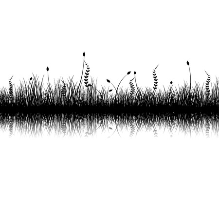 Vegetation silhouette with reflex over white background