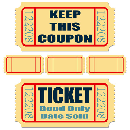 Different tickets with blank templates over white Vector