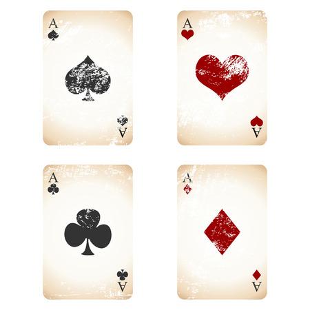 kartenspiel: Grunge-Spielkarten over White quadratische Hintergrund