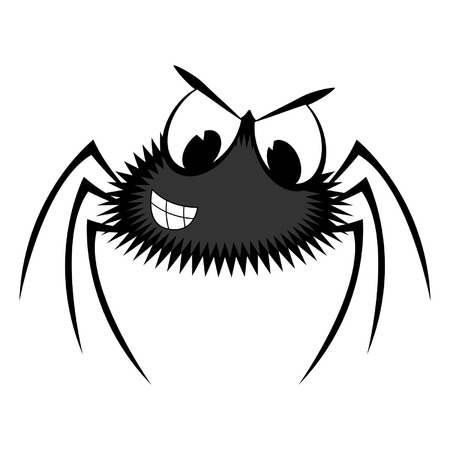 Cartoon spider isolated over white square background