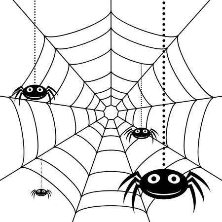 spider cartoon: Spiders and cobweb over white sqaure background