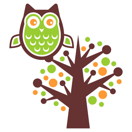 Owl stand alone on a tree brunch Illustration