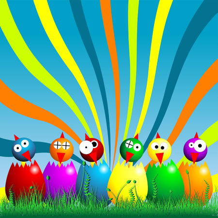 Easter chicks and on the grass over cloudy blue sky Stock Vector - 8882617