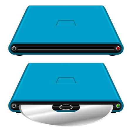 disco duro: Disco duro externo con y sin disco en blanco Vectores