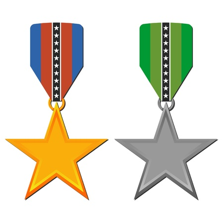 Star medals set isolated over white background Vector