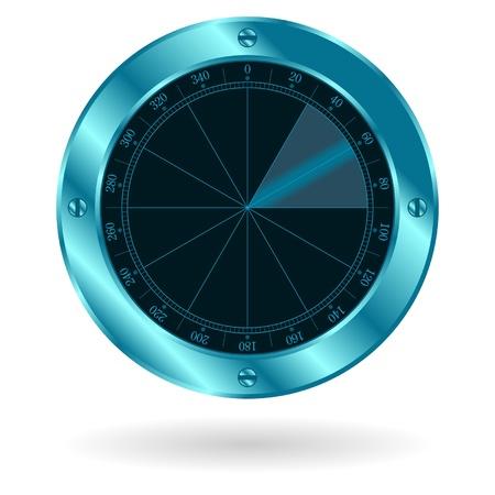 sonar: Schermo di sonar radar isolato su sfondo bianco