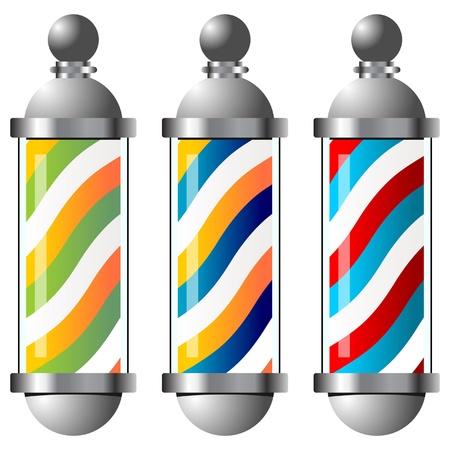 Different vintage barber pole over white background