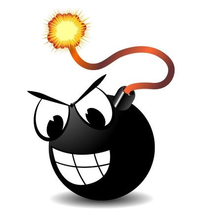 Bomb with  burning fuse and cartoon eyes over white Illustration