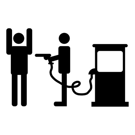 fuel crisis: High gas prices representation over white background