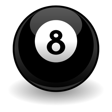 billiard ball: Eight ball isolated over white square background