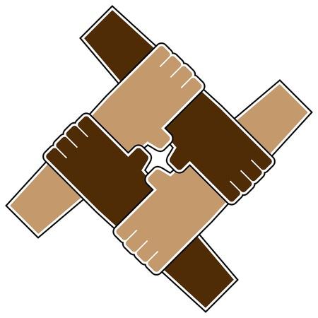 Vierhandig teamwerk symbool geïsoleerd over Wit Vector Illustratie