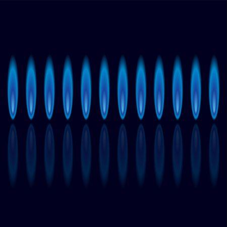 gas flame: Fiamme di gas con riflesso su sfondo scuro quadrato