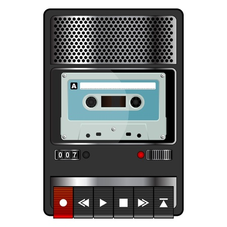 recorder: vintage audio tape recorder isolated over white background