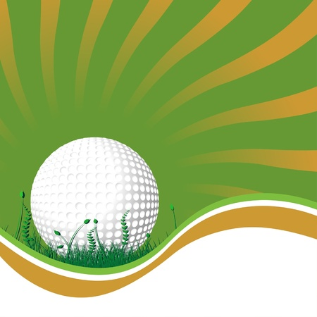 Golf ball on the grass over starry background Illustration