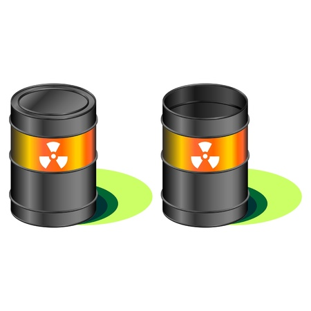 radioactivity: Open and closed barrels with radioactivity waste symbol Illustration