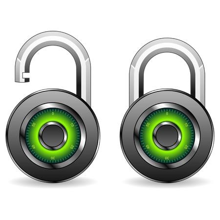 Round padlocks isolated over white square background Illustration