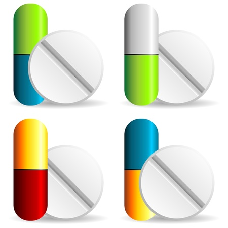 Medical capsules with different colors over white background