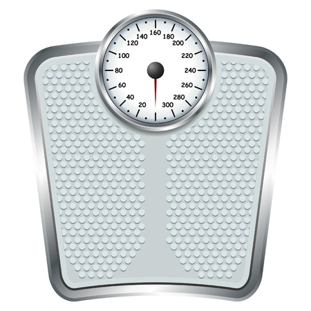 weight: Bathroom scale isolate over white square background