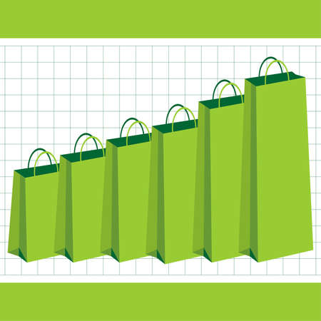 purchasing power: Gaining purchasing power graphic with green shopping bags Illustration