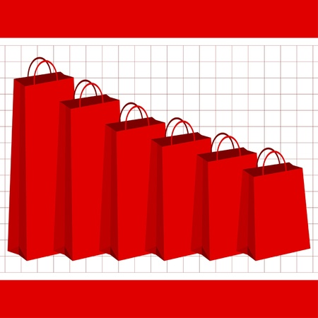 purchasing power: Losing purchasing power graphic with red shopping bags