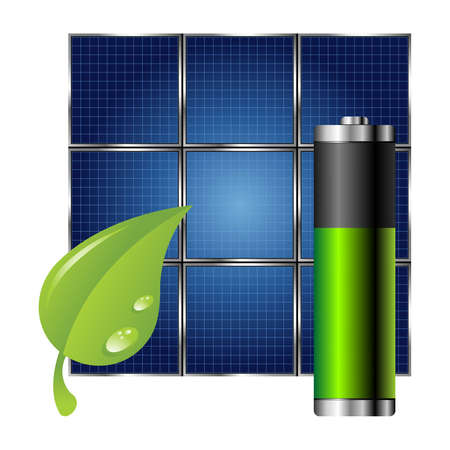 battery charger: Clean energy. Solar panel green leaf and battery