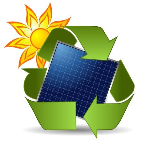 solar equipment: Sun reciclar s�mbolo y panel solar sobre fondo blanco