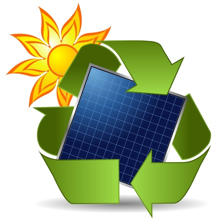 solar equipment: Sun recycle symbol and solar panel over white background