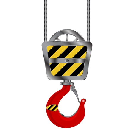 cranes: Industrial red crane hook over white background
