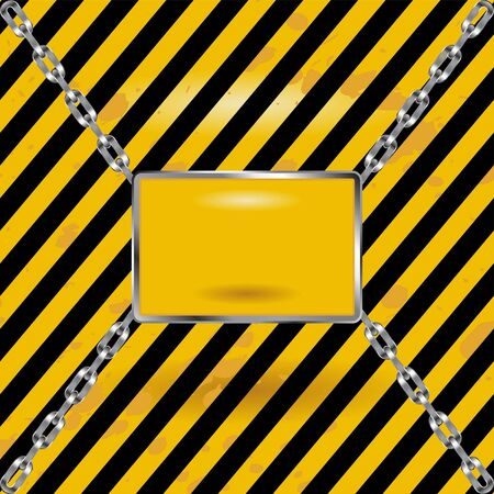 Grunge black and yellow Industrial blank sign Stock Vector - 9799439