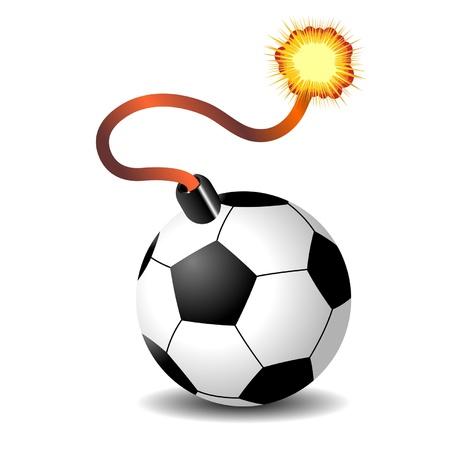 Soccer ball bomb isolated over white background Stock Vector - 9930376