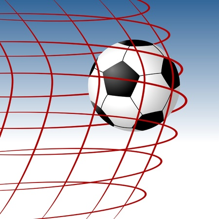 Soccer ball entering the goal and hitting the net Stock Vector - 9930374