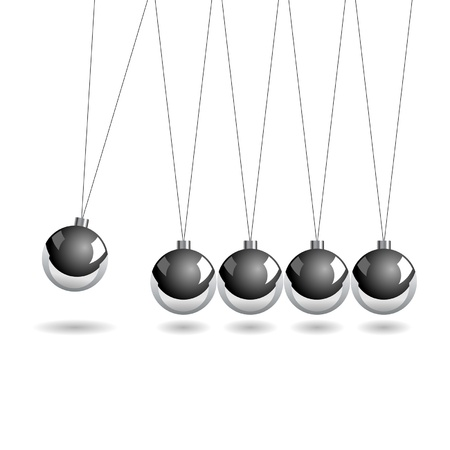 newton cradle: Newtons cradle isolate over white square background