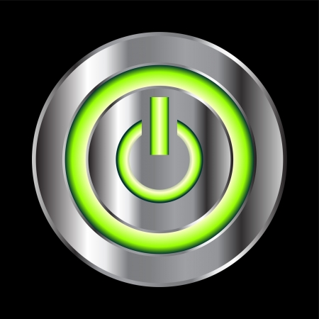 neon green: Power button with green neon over black Illustration