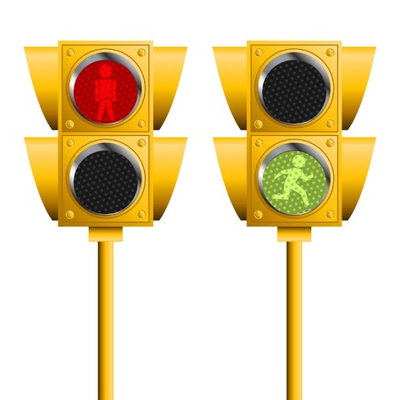 señales de transito: Semáforo peatonal aislada sobre fondo blanco
