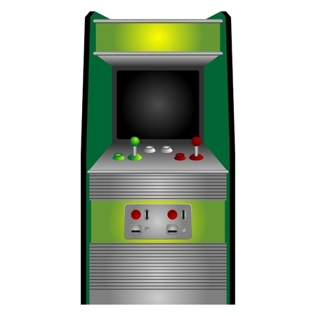 video games: Vintage arcade machine isolated over white background