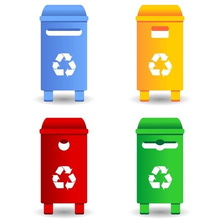 Recycling afval containers met vier verschillende kleuren