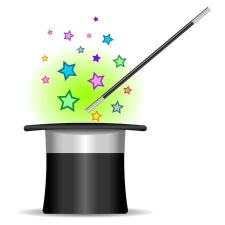 mago: Mago sombrero, varita y estrellas en blanco Vectores