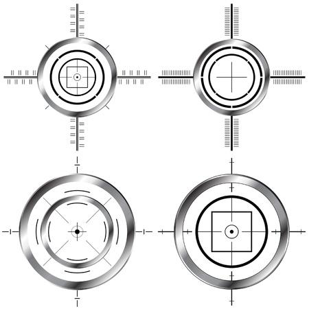 Gun sight set isolated over white background Illustration