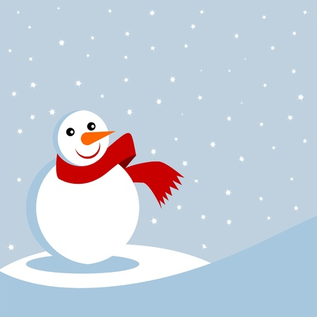 Snowman with red scarf over starry background Vector